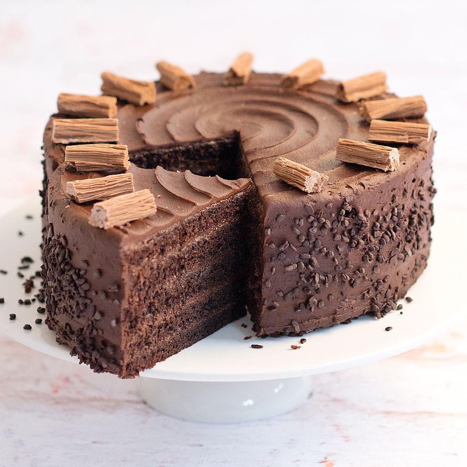 chocolate fudge cake traditional layered chocolate sponge cake with ...